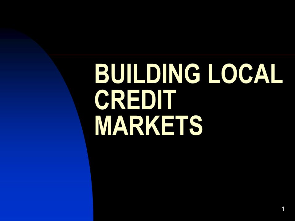 1 BUILDING LOCAL CREDIT MARKETS