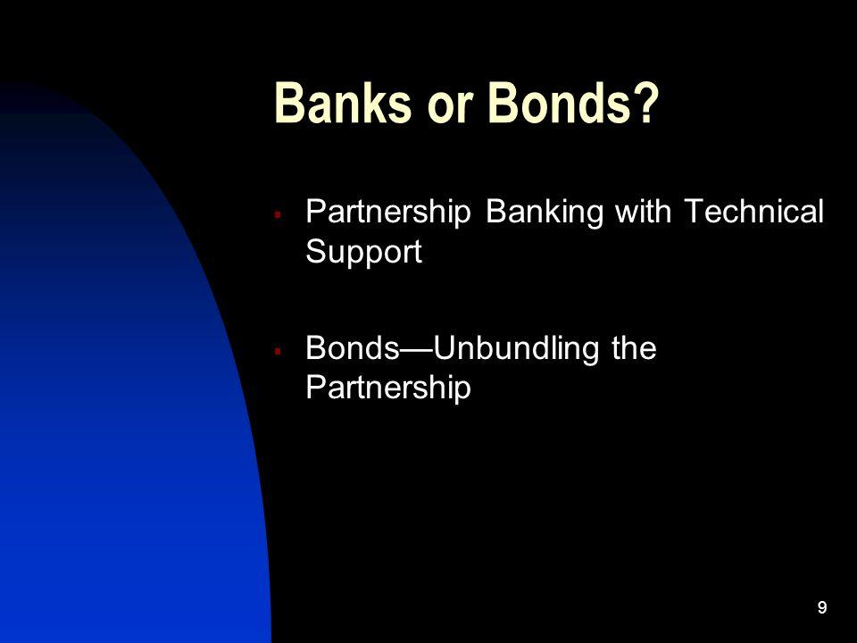 9 Banks or Bonds Partnership Banking with Technical Support BondsUnbundling the Partnership