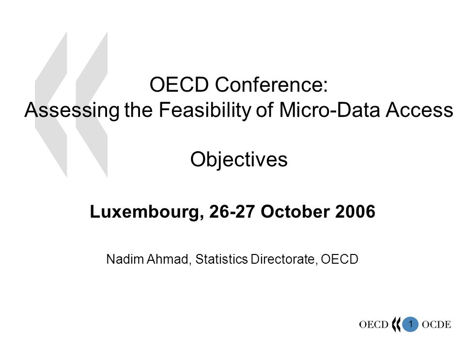 1 OECD Conference: Assessing the Feasibility of Micro-Data Access Objectives Luxembourg, 26-27 October 2006 Nadim Ahmad, Statistics Directorate, OECD