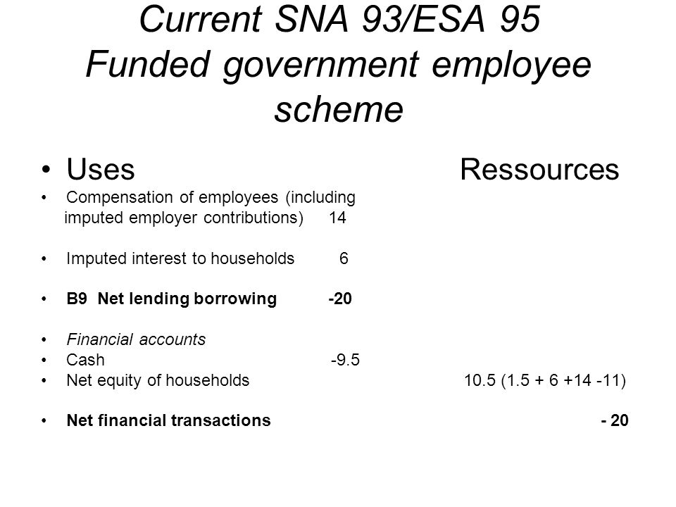 Current SNA 93/ESA 95 Funded government employee scheme Uses Ressources Compensation of employees (including imputed employer contributions) 14 Imputed interest to households 6 B9 Net lending borrowing -20 Financial accounts Cash -9.5 Net equity of households 10.5 (1.5 + 6 +14 -11) Net financial transactions - 20