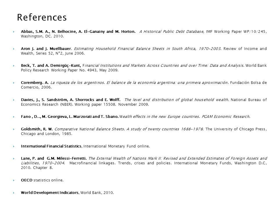 Abbas, S.M. A., N. Belhocine, A. El-Ganainy and M. Horton. A Historical Public Debt Database, IMF Working Paper WP/10/245, Washington, DC. 2010. Aron