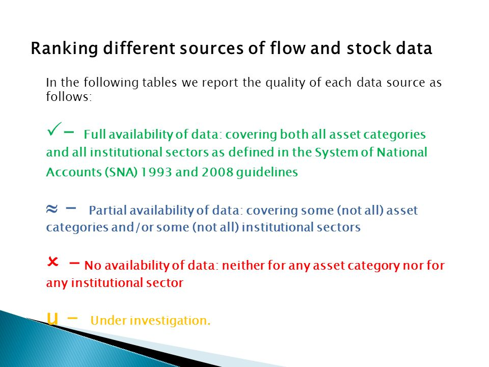 Ranking different sources of flow and stock data In the following tables we report the quality of each data source as follows: - Full availability of data: covering both all asset categories and all institutional sectors as defined in the System of National Accounts (SNA) 1993 and 2008 guidelines - Partial availability of data: covering some (not all) asset categories and/or some (not all) institutional sectors - No availability of data: neither for any asset category nor for any institutional sector u - Under investigation.