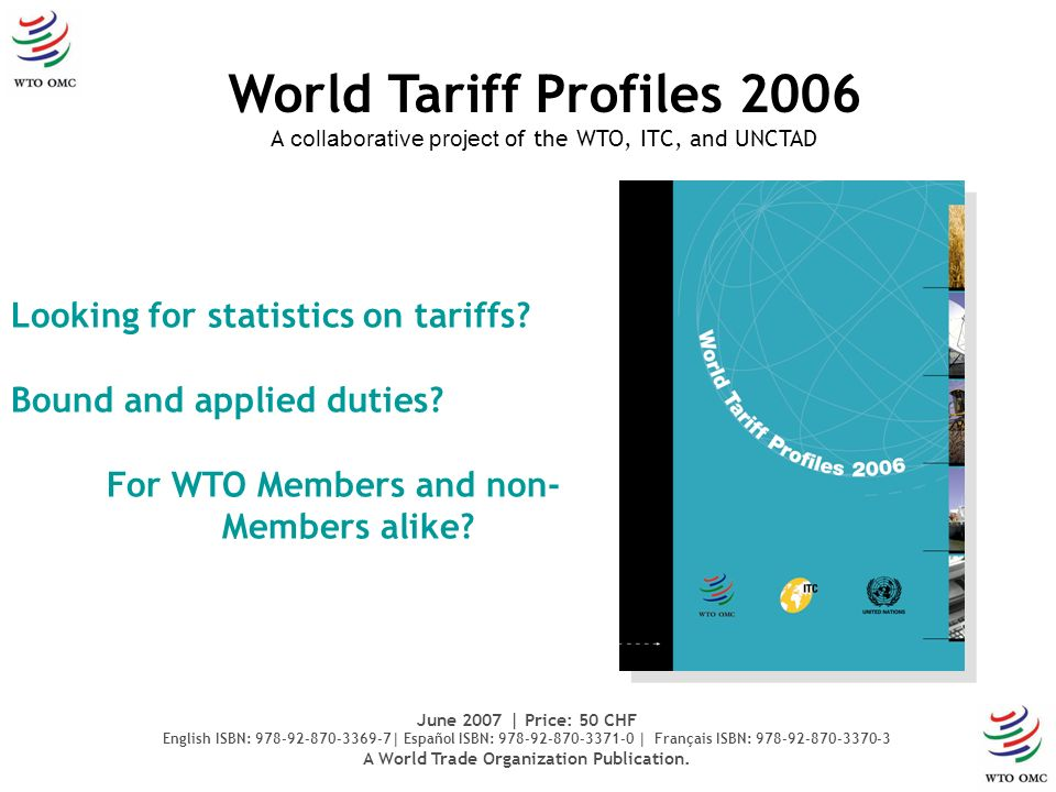 Looking for statistics on tariffs. Bound and applied duties.