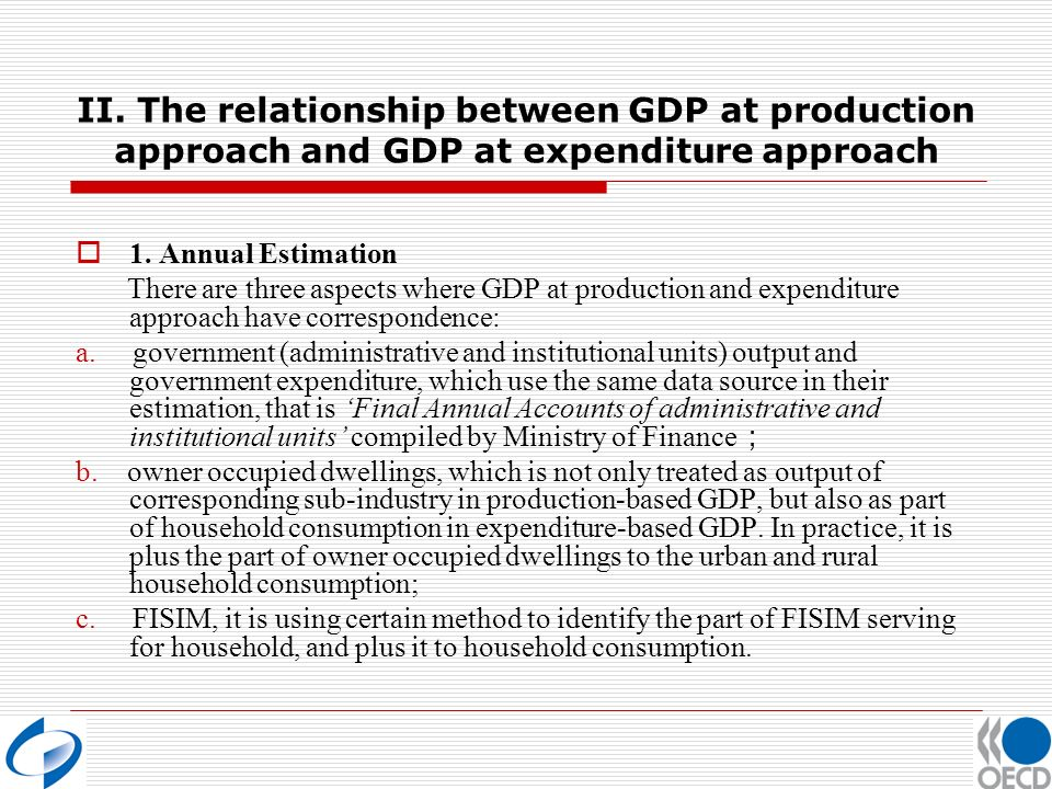 II. The relationship between GDP at production approach and GDP at expenditure approach 1.