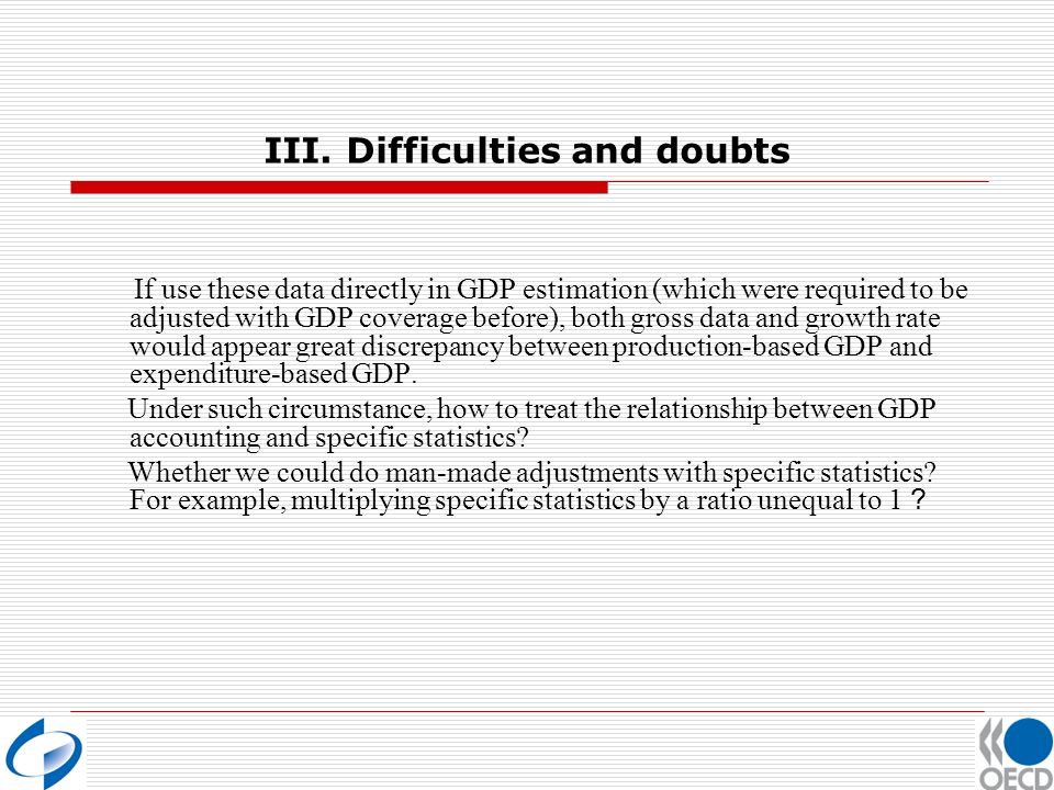 III. Difficulties and doubts If use these data directly in GDP estimation (which were required to be adjusted with GDP coverage before), both gross da