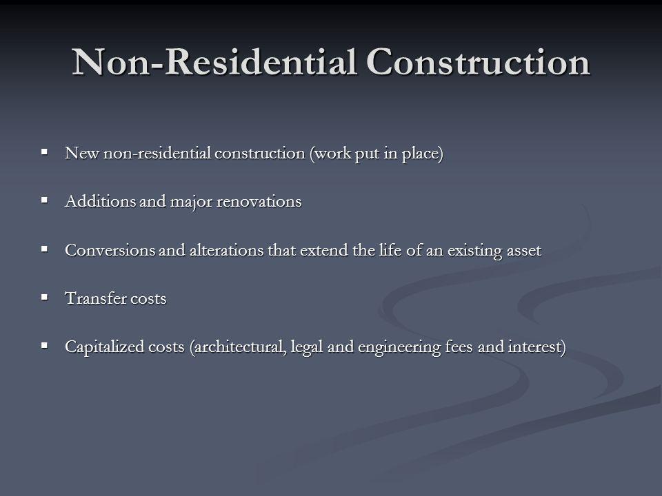 Non-Residential Construction New non-residential construction (work put in place) New non-residential construction (work put in place) Additions and m