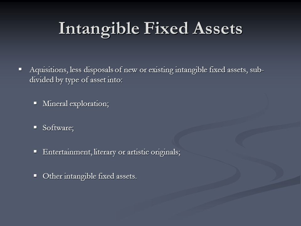 Intangible Fixed Assets Aquisitions, less disposals of new or existing intangible fixed assets, sub- divided by type of asset into: Aquisitions, less