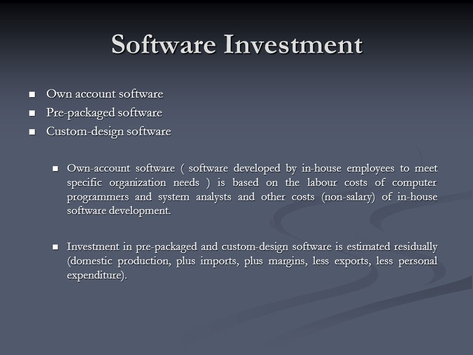 Software Investment Own account software Own account software Pre-packaged software Pre-packaged software Custom-design software Custom-design softwar