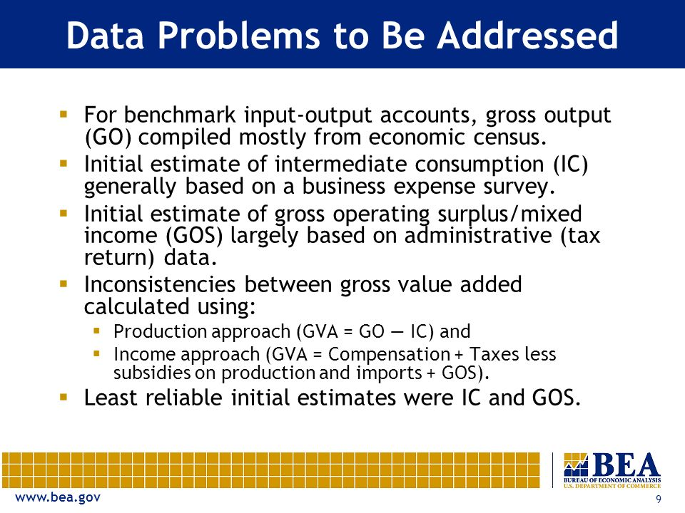 www.bea.gov 9 Data Problems to Be Addressed For benchmark input-output accounts, gross output (GO) compiled mostly from economic census.