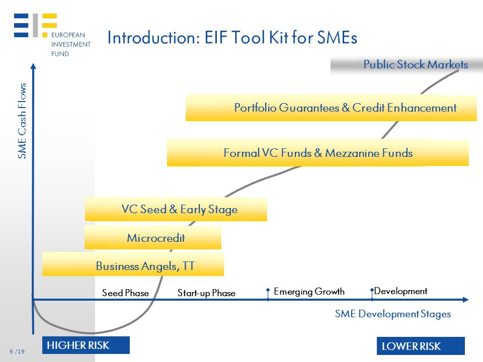 5 /19 Introduction: Operating Model of EIF Transformational Role of EIF VALUE ADDED Own resources Mandates by EIB, EC, MAs, … Product development Mandate management Transaction execution Risk management Follow-up and relationship focus Commercial banks Development & Promotional banks Guarantee Institutions Fund Managers SMEs Suppliers / Mandators Transformational Key Success Factors Intermediaries