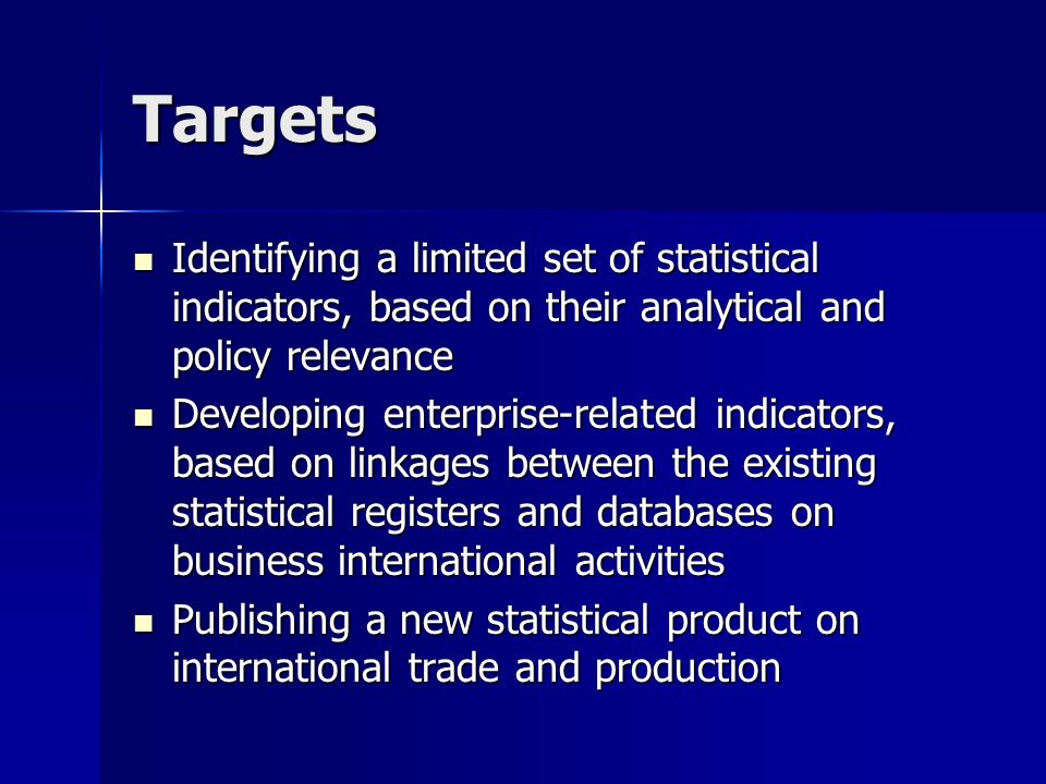 TIP products in 2003 A taxonomy of statistical indicators for the analysis of international trade and production A taxonomy of statistical indicators for the analysis of international trade and production A review of trade policy indicators A review of trade policy indicators New indicators for the analysis of intra-regional trade New indicators for the analysis of intra-regional trade