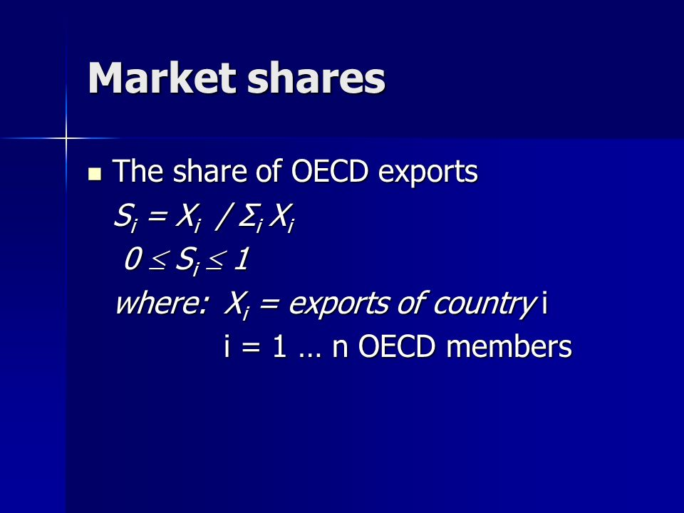 Market shares The share of OECD exports The share of OECD exports S i = X i / Σ i X i 0 S i 1 0 S i 1 where: X i = exports of country i i = 1 … n OECD members