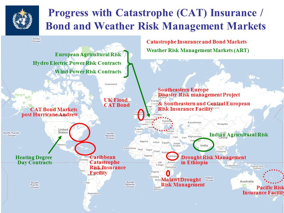 Progress with Catastrophe (CAT) Insurance / Bond and Weather Risk Management Markets Drought Risk Management in Ethiopia Malawi Drought Risk Management Southeastern Europe Disaster Risk management Project & Southeastern and Central European Risk Insurance Facility UK Flood CAT Bond CAT Bond Markets post Hurricane Andrew Caribbean Catastrophe Risk Insurance Facility Pacific Risk Insurance Facility Indian Agricultural Risk European Agricultural Risk Hydro Electric Power Risk Contracts Wind Power Risk Contracts Catastrophe Insurance and Bond Markets Weather Risk Management Markets (ART) Heating Degree Day Contracts
