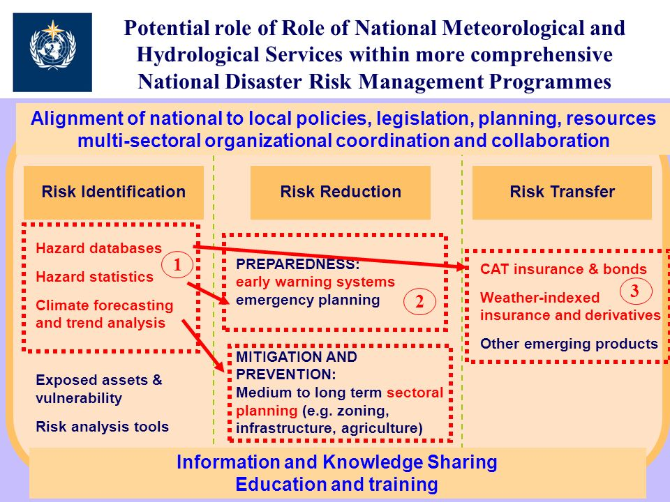 Potential role of Role of National Meteorological and Hydrological Services within more comprehensive National Disaster Risk Management Programmes Risk TransferRisk Identification Hazard databases Hazard statistics Climate forecasting and trend analysis Exposed assets & vulnerability Risk analysis tools PREPAREDNESS: early warning systems emergency planning MITIGATION AND PREVENTION: Medium to long term sectoral planning (e.g.