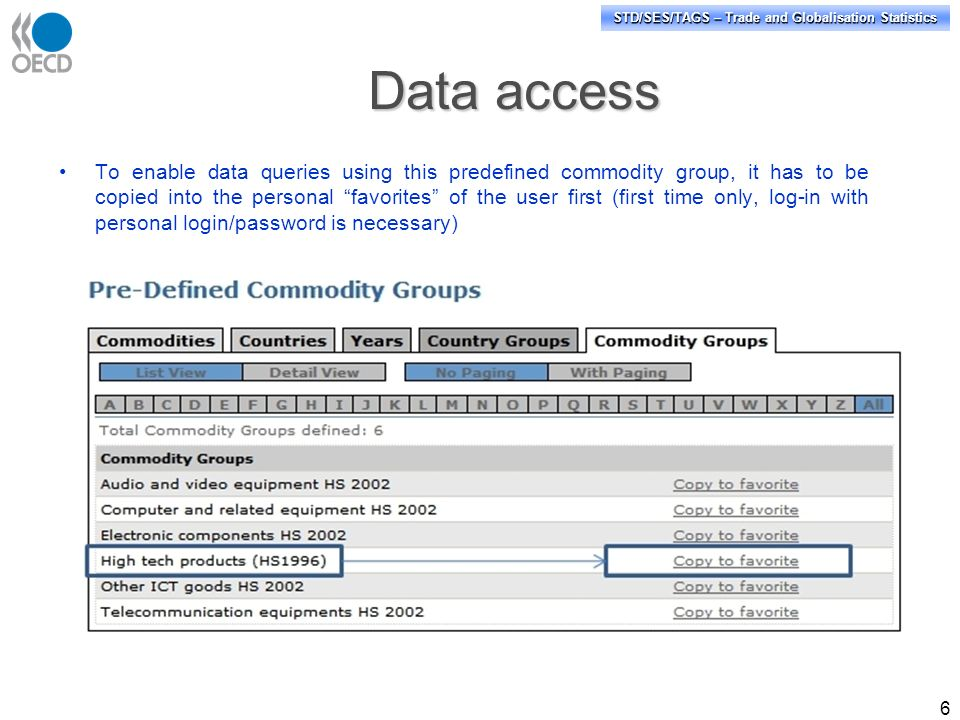 STD/SES/TAGS – Trade and Globalisation Statistics 6 To enable data queries using this predefined commodity group, it has to be copied into the personal favorites of the user first (first time only, log-in with personal login/password is necessary) Data access