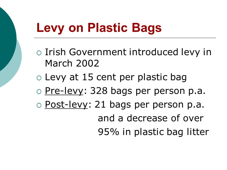 Levy on Plastic Bags Irish Government introduced levy in March 2002 Levy at 15 cent per plastic bag Pre-levy: 328 bags per person p.a.