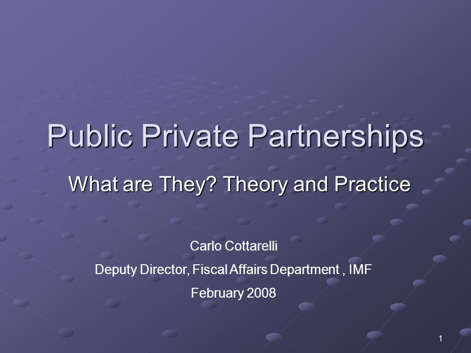 1 Public Private Partnerships What are They.