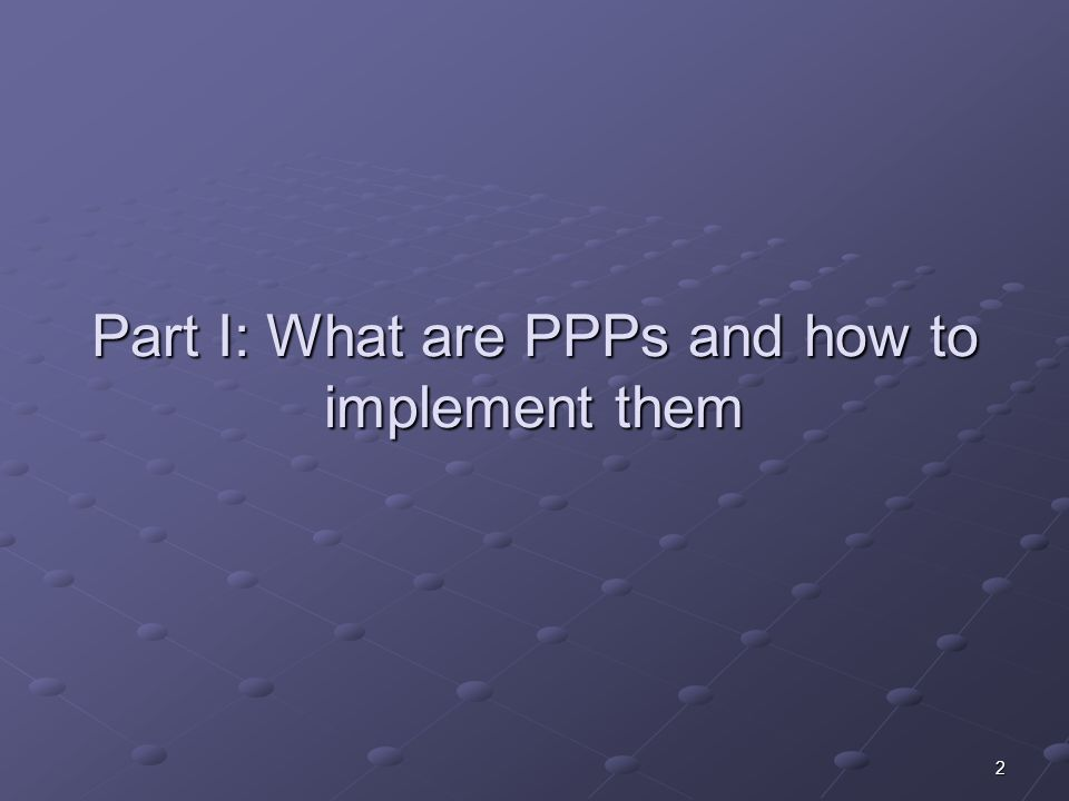 2 Part I: What are PPPs and how to implement them