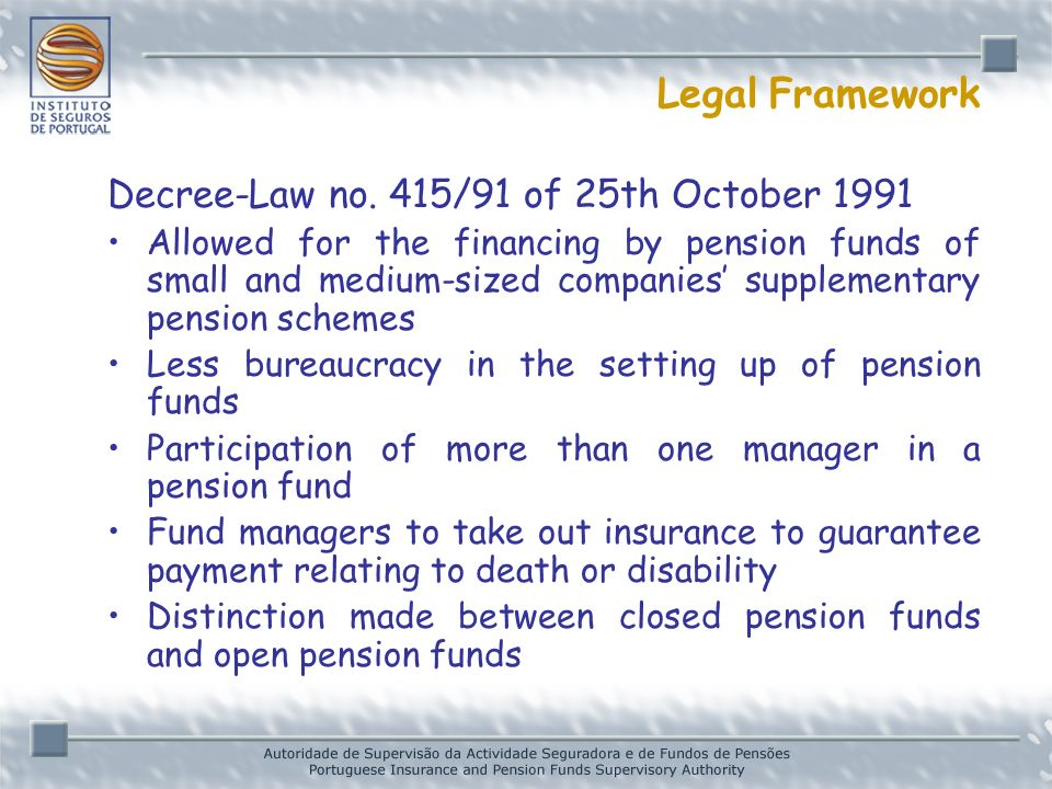 Legal Framework Decree-Law no.