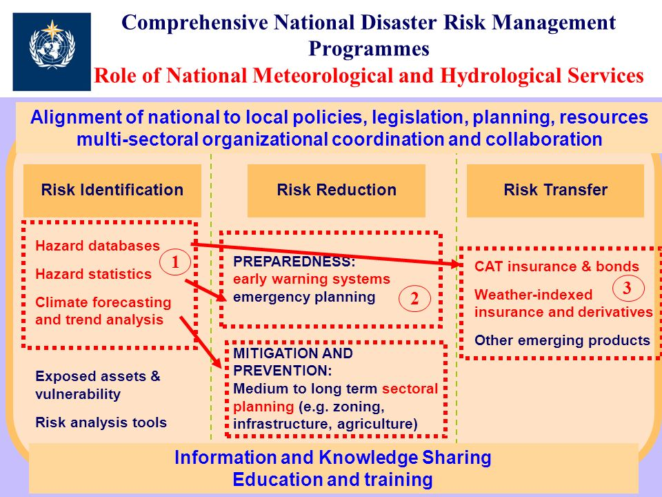 Comprehensive National Disaster Risk Management Programmes Role of National Meteorological and Hydrological Services Risk TransferRisk Identification