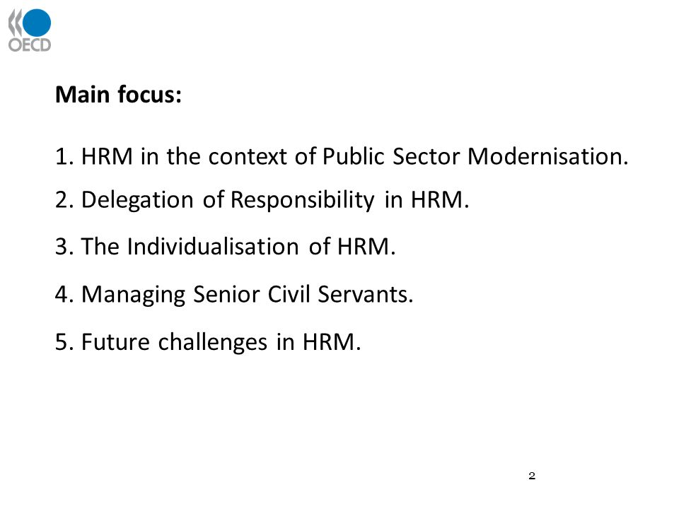 1. HRM in the context of Public Sector Modernisation.