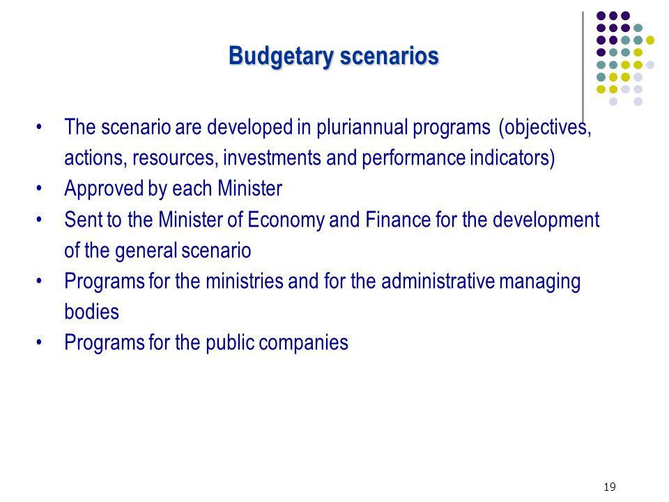 19 The scenario are developed in pluriannual programs (objectives, actions, resources, investments and performance indicators) Approved by each Minister Sent to the Minister of Economy and Finance for the development of the general scenario Programs for the ministries and for the administrative managing bodies Programs for the public companies Budgetary scenarios