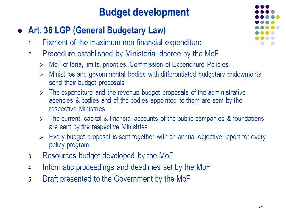 21 Budget development Art. 36 LGP (General Budgetary Law) 1.