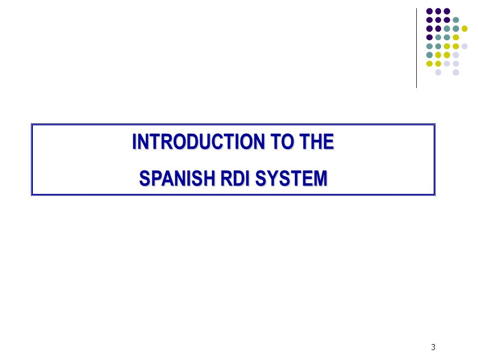 3 INTRODUCTION TO THE SPANISH RDI SYSTEM