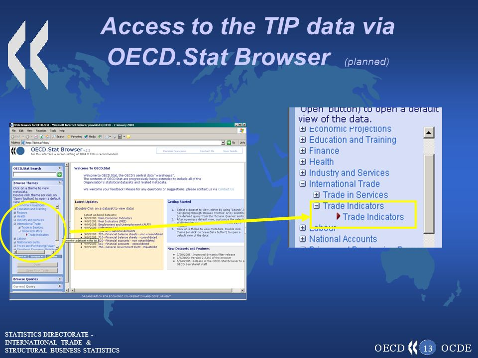 STATISTICS DIRECTORATE - INTERNATIONAL TRADE & STRUCTURAL BUSINESS STATISTICS 13 Access to the TIP data via OECD.Stat Browser (planned)