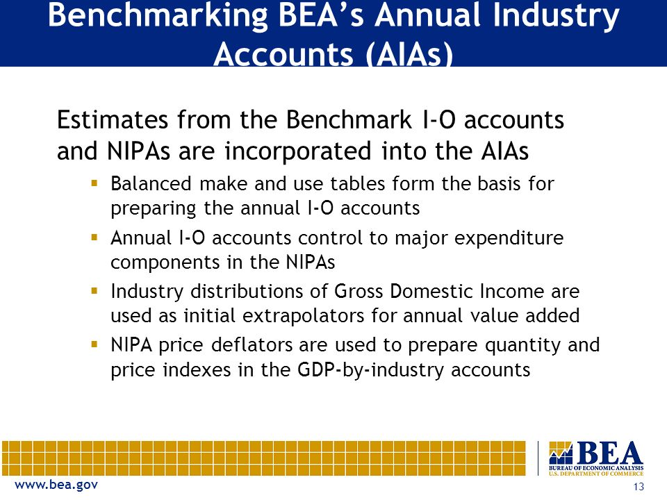 www.bea.gov 13 Benchmarking BEAs Annual Industry Accounts (AIAs) Estimates from the Benchmark I-O accounts and NIPAs are incorporated into the AIAs Balanced make and use tables form the basis for preparing the annual I-O accounts Annual I-O accounts control to major expenditure components in the NIPAs Industry distributions of Gross Domestic Income are used as initial extrapolators for annual value added NIPA price deflators are used to prepare quantity and price indexes in the GDP-by-industry accounts