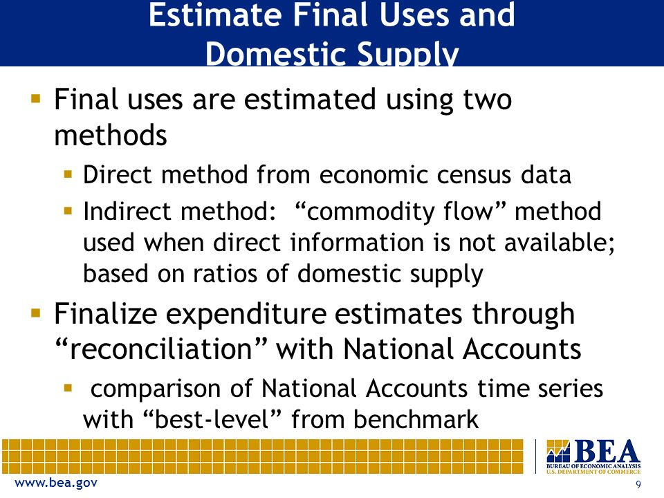 www.bea.gov 9 Estimate Final Uses and Domestic Supply Final uses are estimated using two methods Direct method from economic census data Indirect method: commodity flow method used when direct information is not available; based on ratios of domestic supply Finalize expenditure estimates through reconciliation with National Accounts comparison of National Accounts time series with best-level from benchmark