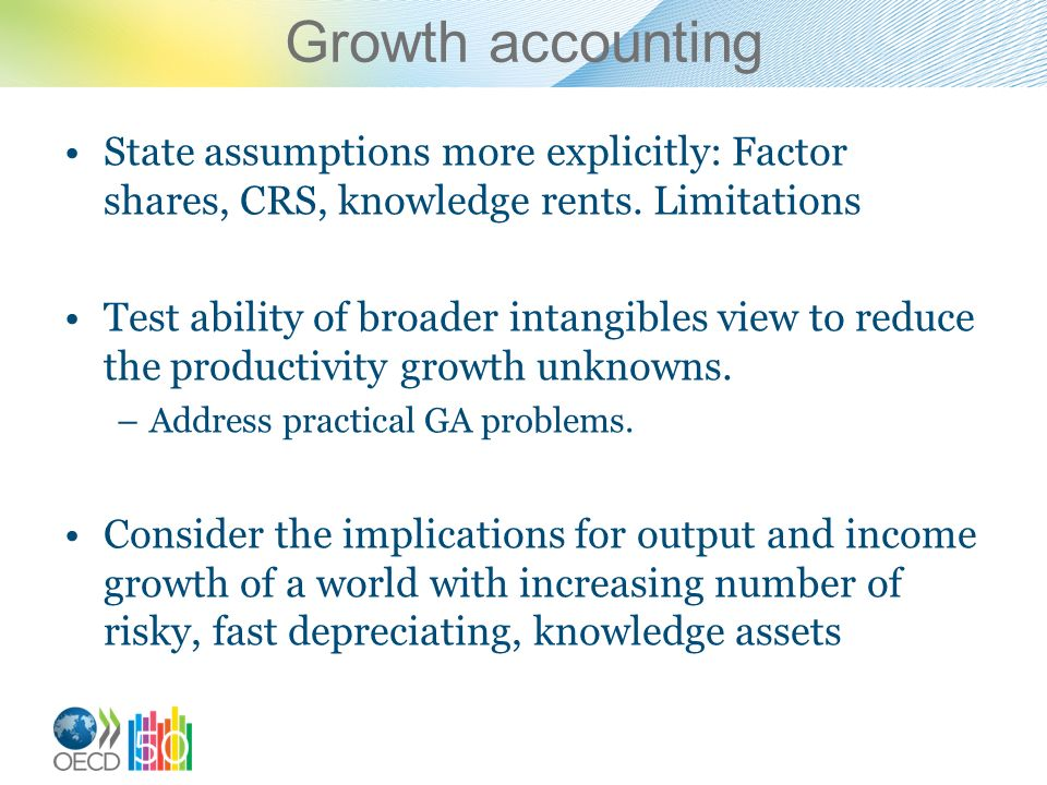 Growth accounting State assumptions more explicitly: Factor shares, CRS, knowledge rents. Limitations Test ability of broader intangibles view to redu
