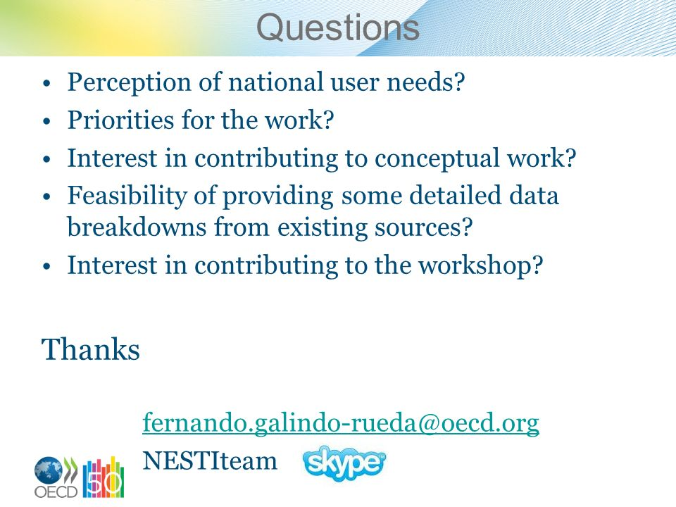 Questions Perception of national user needs. Priorities for the work.