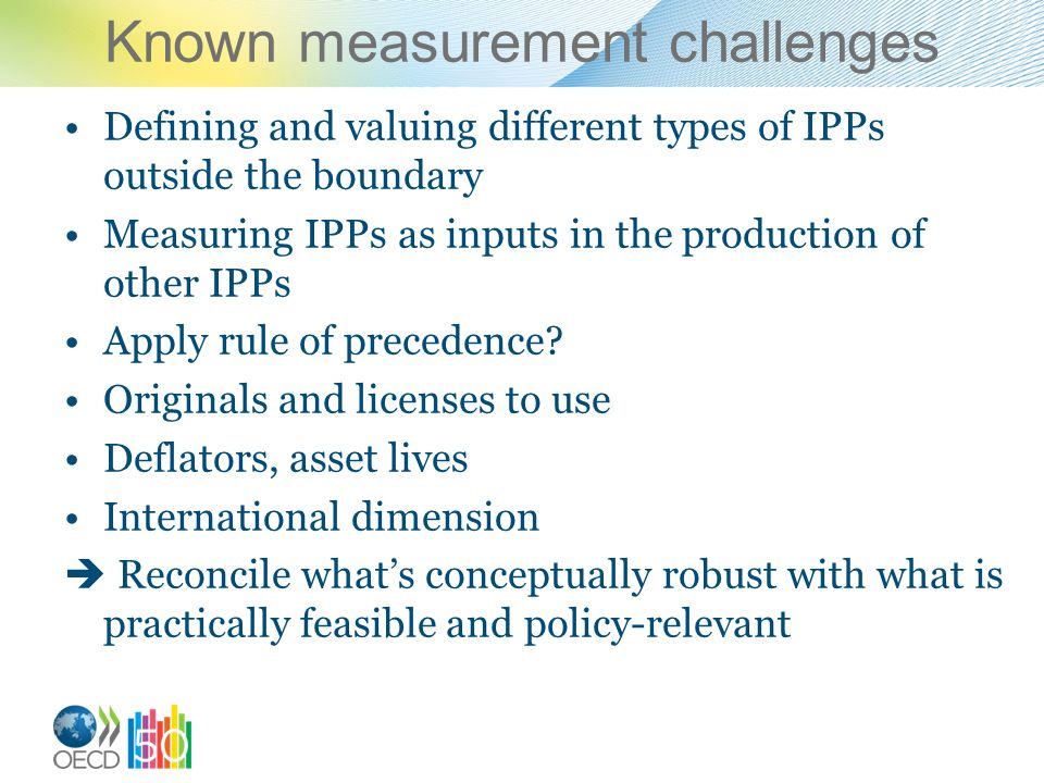 Known measurement challenges Defining and valuing different types of IPPs outside the boundary Measuring IPPs as inputs in the production of other IPP