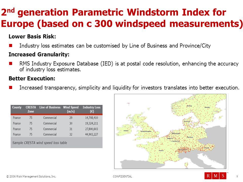 CONFIDENTIAL © 2006 Risk Management Solutions, Inc. TM 9 2 nd generation Parametric Windstorm Index for Europe (based on c 300 windspeed measurements)