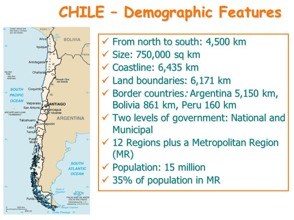 CHILE – Demographic Features From north to south: 4,500 km From north to south: 4,500 km Size: 750,000 sq km Size: 750,000 sq km Coastline: 6,435 km C