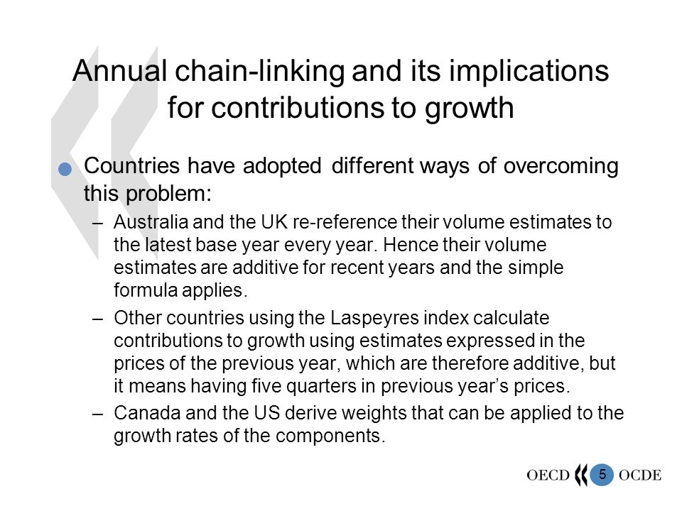5 Annual chain-linking and its implications for contributions to growth Countries have adopted different ways of overcoming this problem: –Australia and the UK re-reference their volume estimates to the latest base year every year.