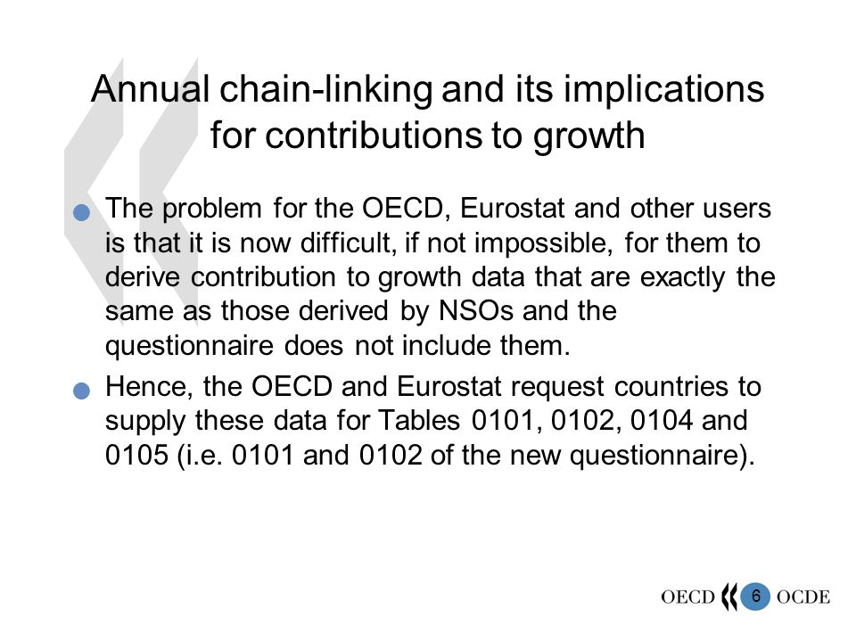 17 Conclusions Please supply OECD and Eurostat with estimates of contribution to growth of GDP If you do not release such estimates, consider doing so.