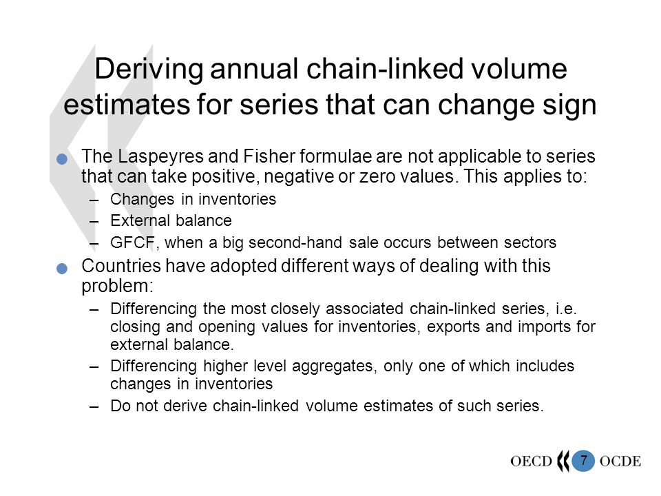 8 Deriving annual chain-linked volume estimates for series that can change sign Differencing chain-linked series to obtain the target series assumes an additive relationship between the three series that is invalid, and so this approach can only give an approximate estimate of the target series.