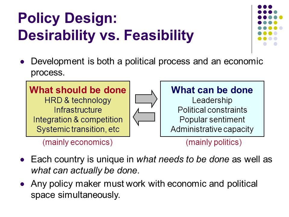 Policy Design: Desirability vs.