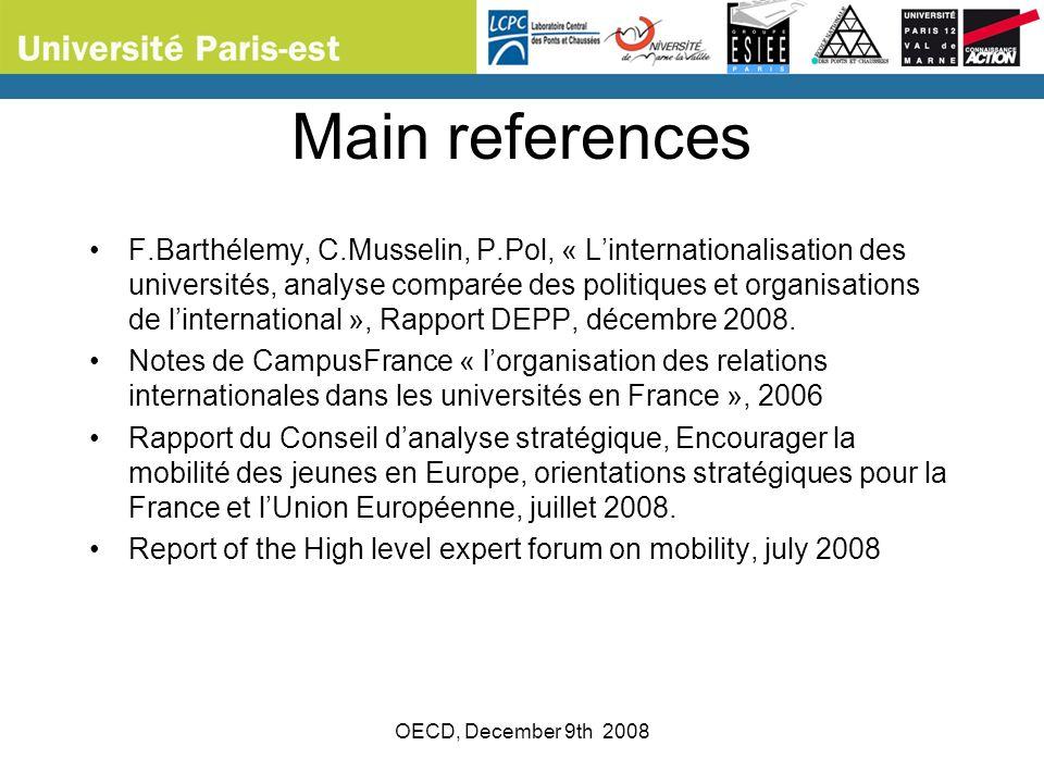 OECD, December 9th 2008 Main references F.Barthélemy, C.Musselin, P.Pol, « Linternationalisation des universités, analyse comparée des politiques et o