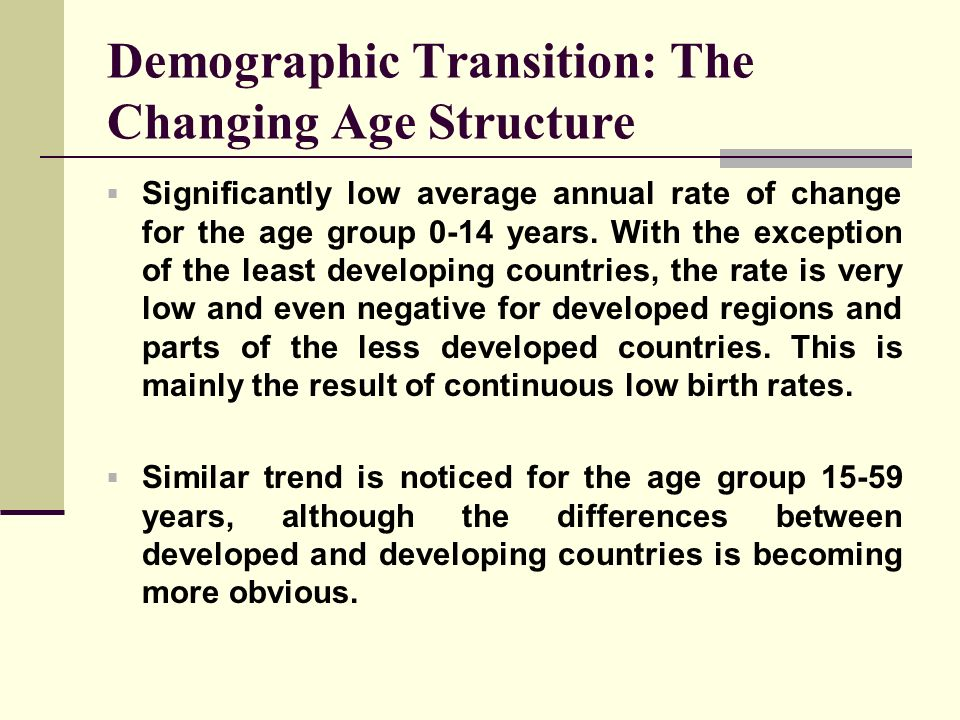Demographic Transition: The Changing Age Structure Significantly low average annual rate of change for the age group 0-14 years. With the exception of