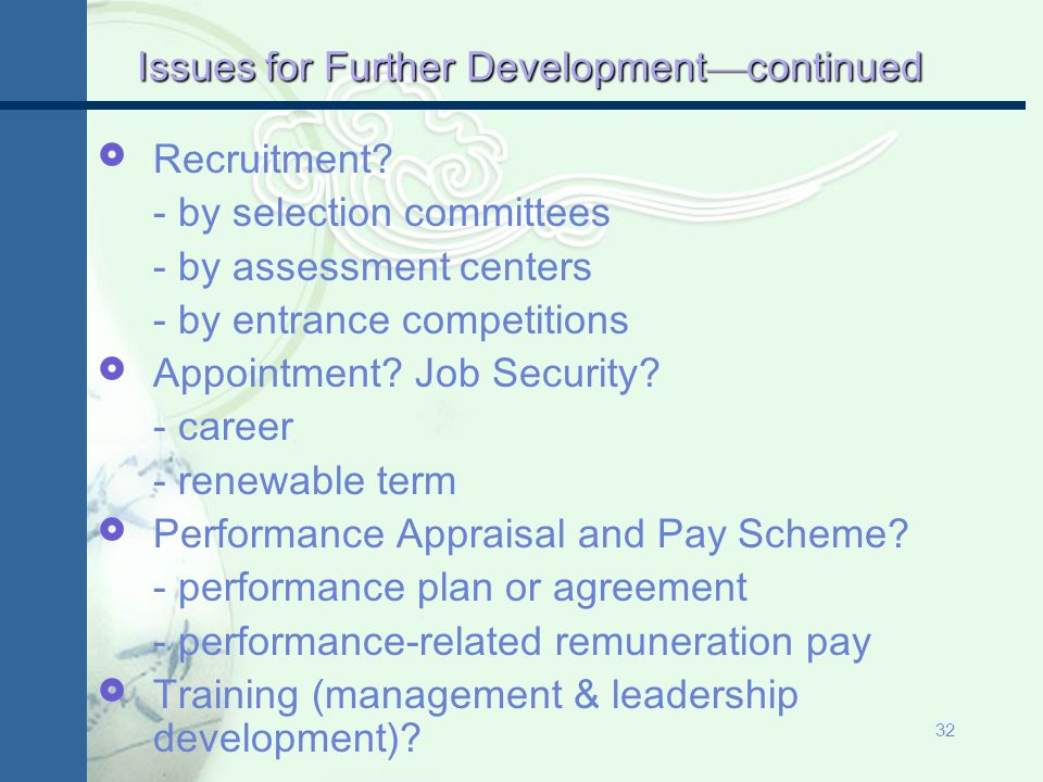 31 Issues for Further Development Scope of Senior Management.