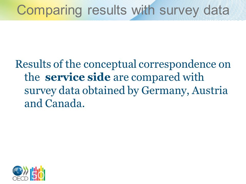Comparing results with survey data Results of the conceptual correspondence on the service side are compared with survey data obtained by Germany, Aus