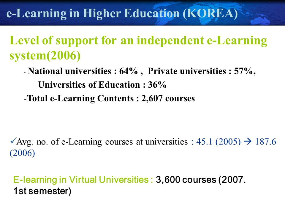 e-Learning in Higher Education (KOREA) Level of support for an independent e-Learning system(2006) - National universities : 64%, Private universities