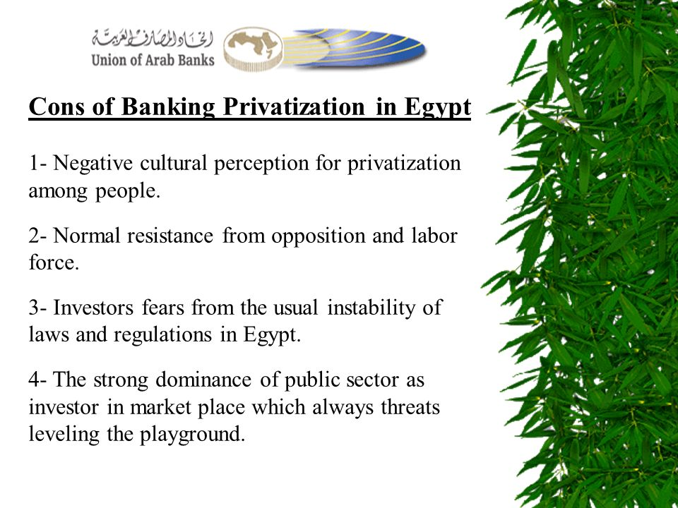 Cons of Banking Privatization in Egypt 1- Negative cultural perception for privatization among people. 2- Normal resistance from opposition and labor