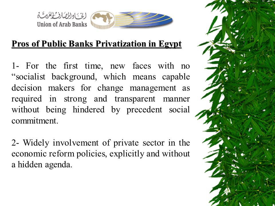 Pros of Public Banks Privatization in Egypt 1- For the first time, new faces with no socialist background, which means capable decision makers for cha