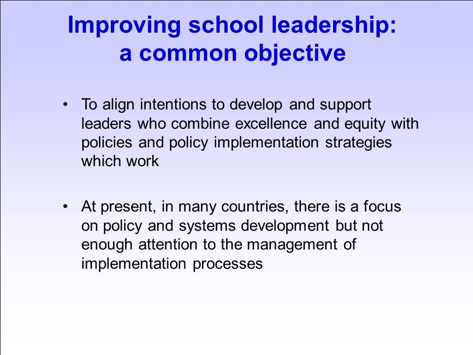 Improving school leadership: a common objective To develop benchmarks/national leadership standards (functional and personal) which reflect the realities of policy objectives and leadership contexts