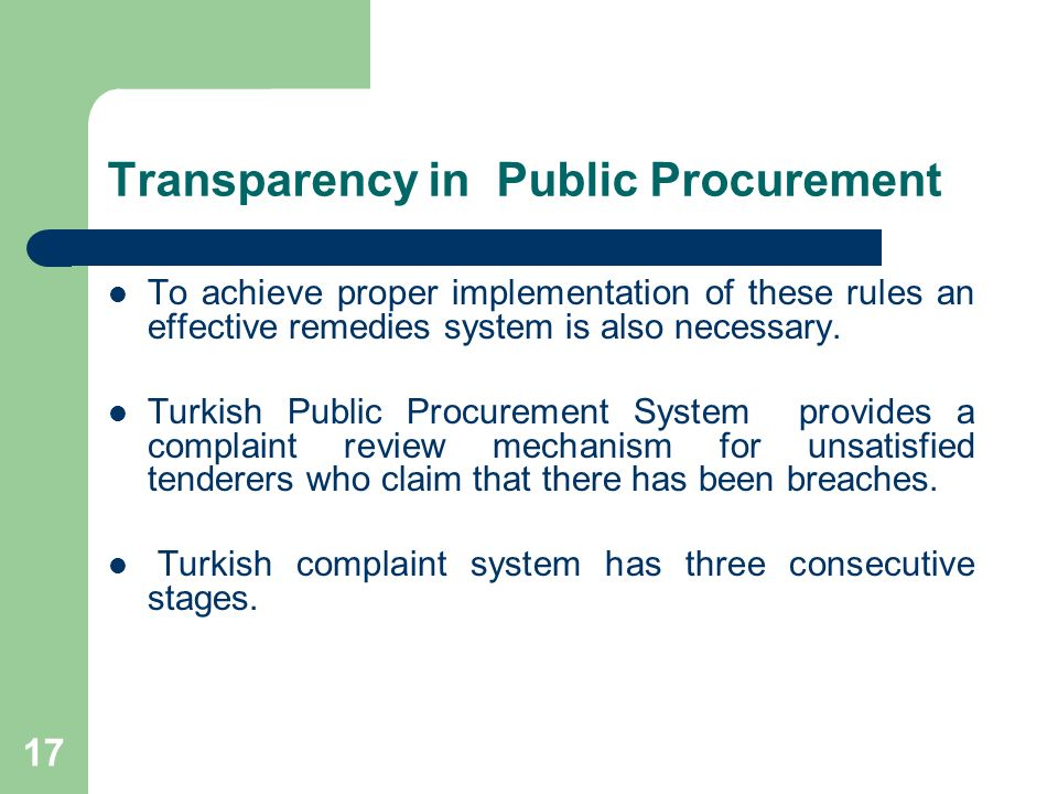 17 Transparency in Public Procurement To achieve proper implementation of these rules an effective remedies system is also necessary.