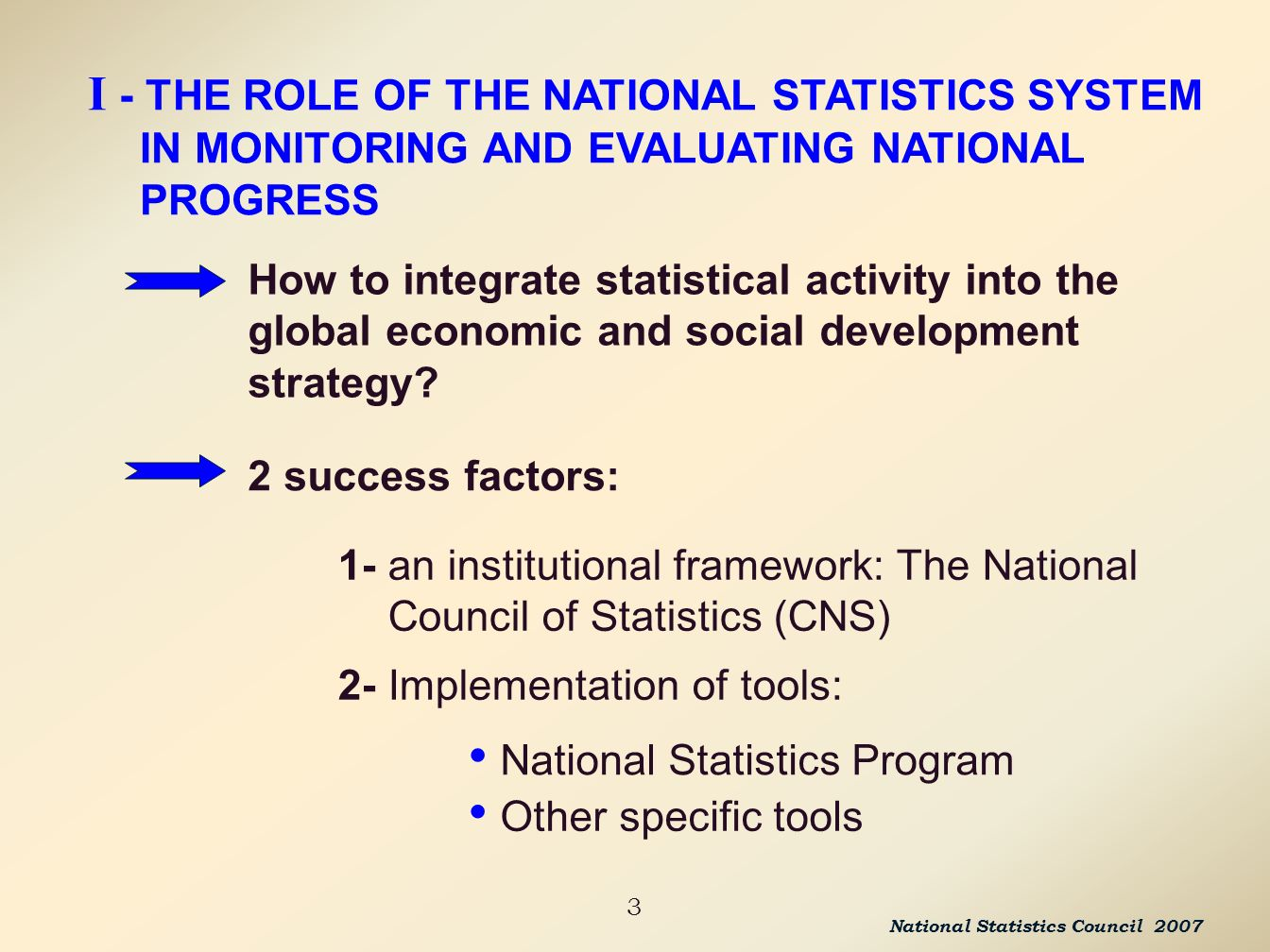 3 How to integrate statistical activity into the global economic and social development strategy.